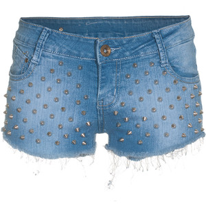 Lpfp Studded Spikey Blue Studded Denim Shorts - shorts | shortebi | შორტები
