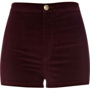 River Island Dark Red Velvet Shorts - shorts | shortebi | შორტები