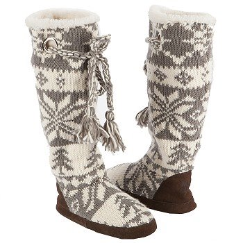 Muk Luks  Women's Grace Slipper Boot   Grey/Ivory - Women's Boots