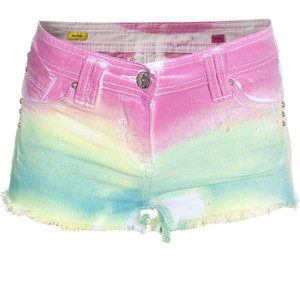 Lpfp Rainbow Cut-Off Tie-Dyed Denim Shorts - shorts | shortebi | შორტები