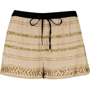 River Island Light Beige Sequin Embellished Shorts - shorts | shortebi | შორტები