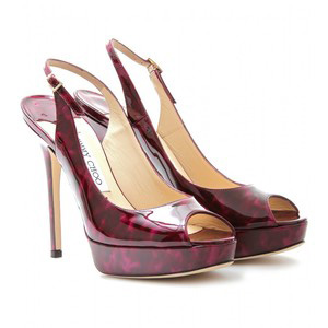 Jimmy Choo Shaw Patent Leather Peep-Toe Sling-Backs - Women's Platform Pumps | Platformebi | პლატფორმები