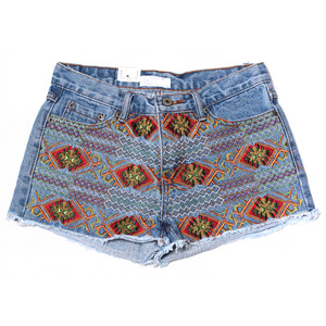 Aztec Embroidery Cutoff Denim Shorts - shorts | shortebi | შორტები
