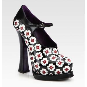 Prada Leather Flower  - Women's Platform Pumps | Platformebi | პლატფორმები