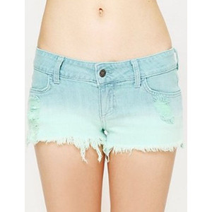 Gradient Light Blue Denim Ripped Frayed Hem Shorts - shorts | shortebi | შორტები