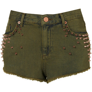 Petite Studded Denim Hotpants - shorts | shortebi | შორტები