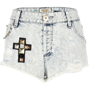 River Island Light Denim Stud Cross Super Short Hotpants - shorts | shortebi | შორტები