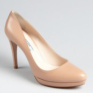 Prada Nude Leather Platform Pumps - Women's Platform Pumps | Platformebi | პლატფორმები