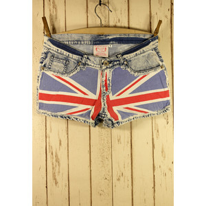 Great Britain Flag Washed Denim Shorts - shorts | shortebi | შორტები