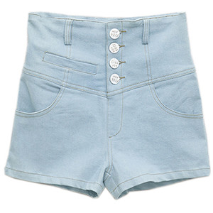 Slim Retro Denim Light-blue Shorts - shorts | shortebi | შორტები