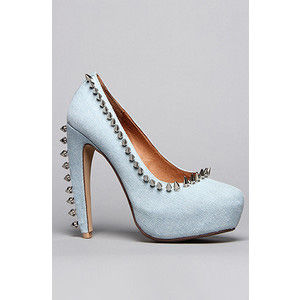 Jeffrey Campbell The Spike Madame Shoe in Denim and Silver - Women's Platform Pumps | Platformebi | პლატფორმები