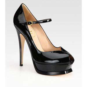 Yves Saint Laurent Patent Leather Mary Jane Platform Pumps - Women's Platform Pumps | Platformebi | პლატფორმები