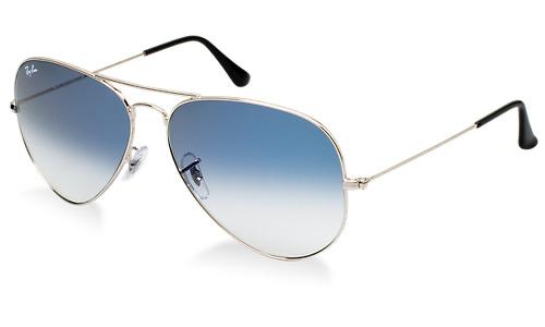 ray ban aviator blue silver frame