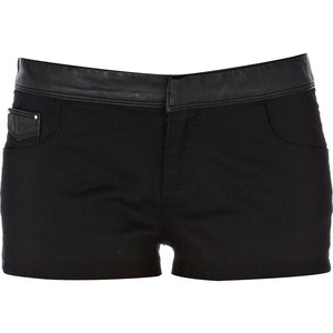 River Island Black Pu Mix Shorts - shorts | shortebi | შორტები