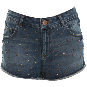 Mid Wash High Waist Stud Short - shorts | shortebi | შორტები
