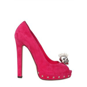 Alexander Mcqueen 130mm Suede Skull Open Toe Pumps - Women's Platform Pumps | Platformebi | პლატფორმები