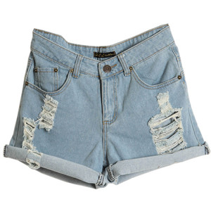 Turn-up Cuffs Distressed Denim Shorts - shorts | shortebi | შორტები