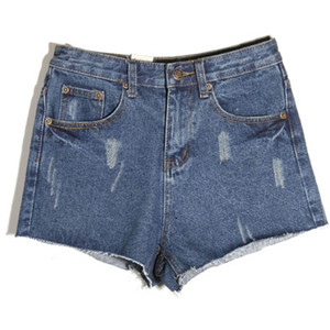High Waist Blue Denim Shorts - shorts | shortebi | შორტები