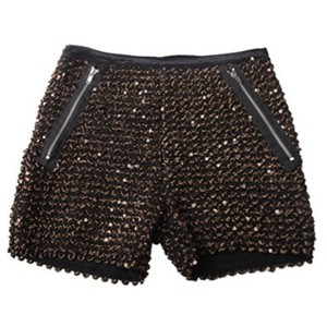 Sequined Straight Mid-waist Shorts Gold - shorts | shortebi | შორტები