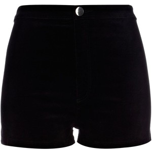 River Island Black Velvet Smart Shorts - shorts | shortebi | შორტები