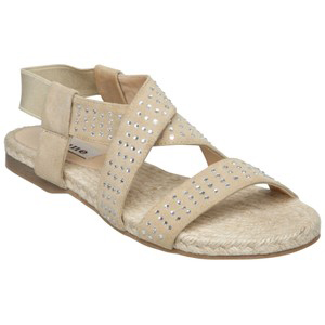 Dune Julieta Diamanté Espadrille Sandals Taupe - Women's Flat Sandals | Sandalebi | სანდალები