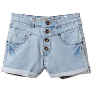 Rinse Rolled Hem Light-blue Denim Shorts - shorts | shortebi | შორტები