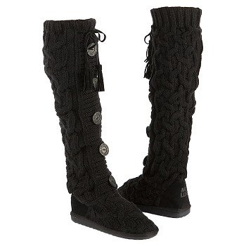 Muk Luks  Women's Annie Tall Knit Boot   Ebony - Women's Boots