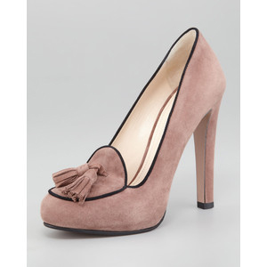 Prada Suede Bi-Color Tassel Pump - Women's Platform Pumps | Platformebi | პლატფორმები