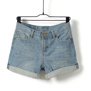 Light Blue Mid Waist Casual Jean Shorts - shorts | shortebi | შორტები