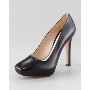 Prada Leather Square-Toe Pump - Women's Platform Pumps | Platformebi | პლატფორმები