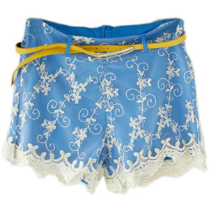 Fitted Belt Golden Hem Blue Shorts - shorts | shortebi | შორტები