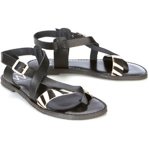Black And Zebra Leather Sandal - Women's Flat Sandals | Sandalebi | სანდალები