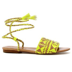 Baha Sandals- Neon Yellow/Natural - Women's Flat Sandals | Sandalebi | სანდალები