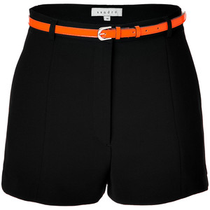 SANDRO Black Front Pleated Shorts With Neon Belt - shorts | shortebi | შორტები