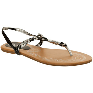 Miso Metallic Toe Post Sandals - Women's Flat Sandals | Sandalebi | სანდალები