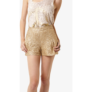 Gold Sequin Shorts With Pockets - shorts | shortebi | შორტები