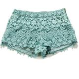 Floral Crochet Shorts in Teal - shorts