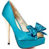Luichiny Kissy Kiss - Teal Satin - Women's Platform Pumps