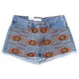 Aztec Embroidery Cutoff Denim Shorts - shorts | შორტები | shortebi