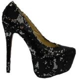 Daffodile 160mm black Glitter Pump - Women's Platform Pumps