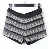 Black High Waist Lace Patched Tiered Shorts - shorts