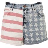 Tall Flag Print Denim Shorts - shorts