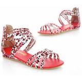 Leopard-Print Strappy Sandals - Women's Flat Sandals