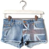 Pull & Bear Denim Shorts With Flag Detail - shorts