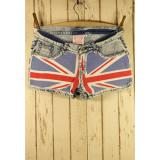 Great Britain Flag Washed Denim Shorts - shorts