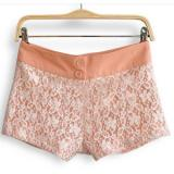 White Floral Lace Layer with Nude Inside Shorts - shorts | შორტები | shortebi