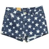 Stars Print Denim Shorts - shorts