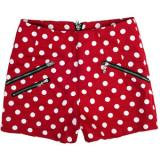 Zippered Polka Dot Low-waist Shorts Red - shorts | შორტები | shortebi