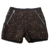 Sequined Straight Mid-waist Shorts Gold - shorts