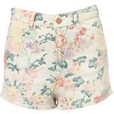 Coated Floral Hot Pants - shorts
